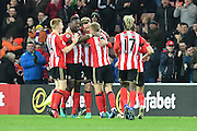 Sunderland celebrate own goal by Leicester City's defender Robert Huth (6) to go 1-0 up  during the Premier League match between Sunderland and Leicester City at the Stadium Of Light, Sunderland, England on 3 December 2016. Photo by Ian Lyall.