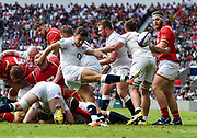 England's Danny Care clears from the base of a ruck during the The Old Mutual Wealth Cup match England -V- Wales at Twickenham Stadium, London, Greater London, England on Sunday, May 29, 2016. (Steve Flynn/Image of Sport)