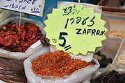 Selling Saffron at a Herbs and spices stall at the Acre, market, Israel, western Galilee