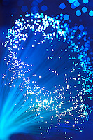 Close up of blue fibre optics