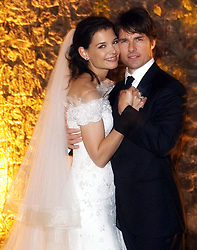 Nov. 18, 2006 - Bracciano, Italy - TOMKAT got hitched! Actor TOM CRUISE the groom and actress KATIE HOLMES the bride, in her wedding dress, in their official wedding picture, at the 15th-century Odescalchi Castle overlooking Lake Bracciano outside of Rome..(Credit Image: © Robert Evans/ZUMAPRESS.com)