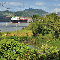 Ship Passing through Panama Canal near Panama City, Panama<br />