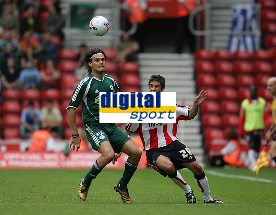 Photo: Lee Earle.<br /> Southampton v Panathinaikos. Pre Season Friendly. 29/07/2006. Saint's Andrew Surman (R) battles with Alexandros Tziolis.