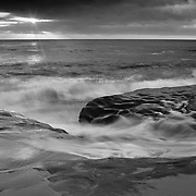 Sun Through The Clouds At High Tide - La Jolla Shoreline - Sunset - Black & White