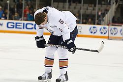 January 13, 2011; San Jose, CA, USA; Edmonton Oilers defenseman Ladislav Smid (5) warms up before the game against the San Jose Sharks at HP Pavilion.  Edmonton defeated San Jose 5-2. Mandatory Credit: Jason O. Watson / US PRESSWIRE