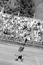 June 23, 2018 - L'Aquila, Italy - (EDITORS NOTE: Image has been converted to black and.white.) Guilherme Clezar during match between Facundo Bagnis (ARG) and Guilherme Clezar (BRA) during Men Semi-Final match at the Internazionali di Tennis Citt dell'Aquila (ATP Challenger L'Aquila) in L'Aquila, Italy, on June 23, 2018. (Credit Image: © Manuel Romano/NurPhoto via ZUMA Press)