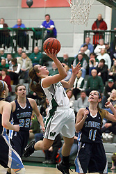 21 February 2015:  Rebekah Ehresman takes a short leaner away from Katie Swanson during an NCAA women's division 3 CCIW basketball game between the Elmhurst Bluejays and the Illinois Wesleyan Titans in Shirk Center, Bloomington IL