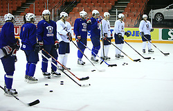 Players at practice of Slovenian national team before game Slovenia vs Slovakia at Hockey IIHF WC 2008 in Halifax,  on May 09, 2008 in Metro Center, Halifax, Canada.  (Photo by Vid Ponikvar / Sportal Images)