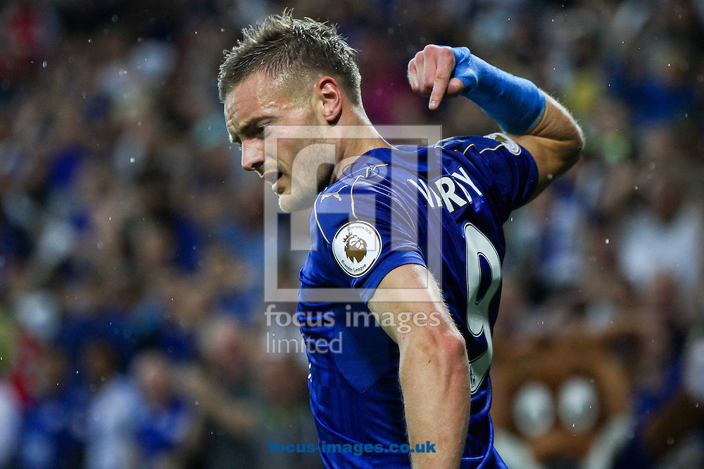 Jamie Vardy of Leicester City points to his name on his shirt after scoring during the Premier League match at the King Power Stadium, Leicester<br /> Picture by Andy Kearns/Focus Images Ltd 0781 864 4264<br /> 27/08/2016