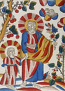 St Joseph and Jesus walking hand-in-hand. 18th/19th century French coloured woodcut