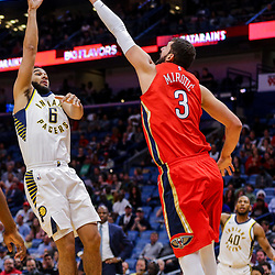 Mar 21, 2018; New Orleans, LA, USA; Indiana Pacers guard Cory Joseph (6) shoots over New Orleans Pelicans forward Nikola Mirotic (3) during the first quarter at the Smoothie King Center. Mandatory Credit: Derick E. Hingle-USA TODAY Sports