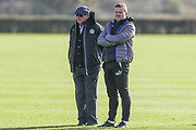 Forest Green Rovers manager, Mark Cooper with his father Terry Cooper during the Forest Green Rovers training session at Stanley Park, Chippenham, United Kingdom on 6 November 2017. Photo by Shane Healey.