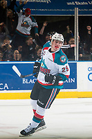 KELOWNA, CANADA - MARCH 24: Nolan Foote #29 of the Kelowna Rockets celebrates a first period goal against the Kamloops Blazers on March 24, 2017 at Prospera Place in Kelowna, British Columbia, Canada.  (Photo by Marissa Baecker/Shoot the Breeze)  *** Local Caption ***