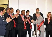 20091214: BRASILIA, BRAZIL - Brazil's President Luiz Inacio Lula da Silva welcomes players and staff of the brazilian league 2009 champions Flamengo, at CCBB in Brasilia. In picture: players Adriano, Ronaldo Angelim, coach Andrade, and Lula da Silva, among others. PHOTO: CITYFILES