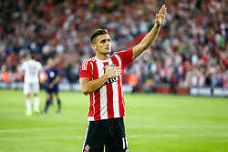 Dusan Tadic of Southampton salutes the Southampton fans after scoring his penalty, Southampton 2-0 Vitesse Arnhem - Mandatory by-line: Jason Brown/JMP - Mobile 07966386802 - 31/07/2015 - SPORT - FOOTBALL - Southampton, St Mary's Stadium - Southampton v Vitesse Arnhem - Europa League