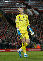 Football - 2019 / 2020 Premier League - Liverpool vs. Everton<br /> <br /> Everton keeper Jordan Pickford, at Anfield.<br /> <br /> COLORSPORT/ALAN MARTIN