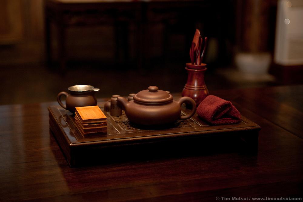 A tea setting in Yangzhou, China.
