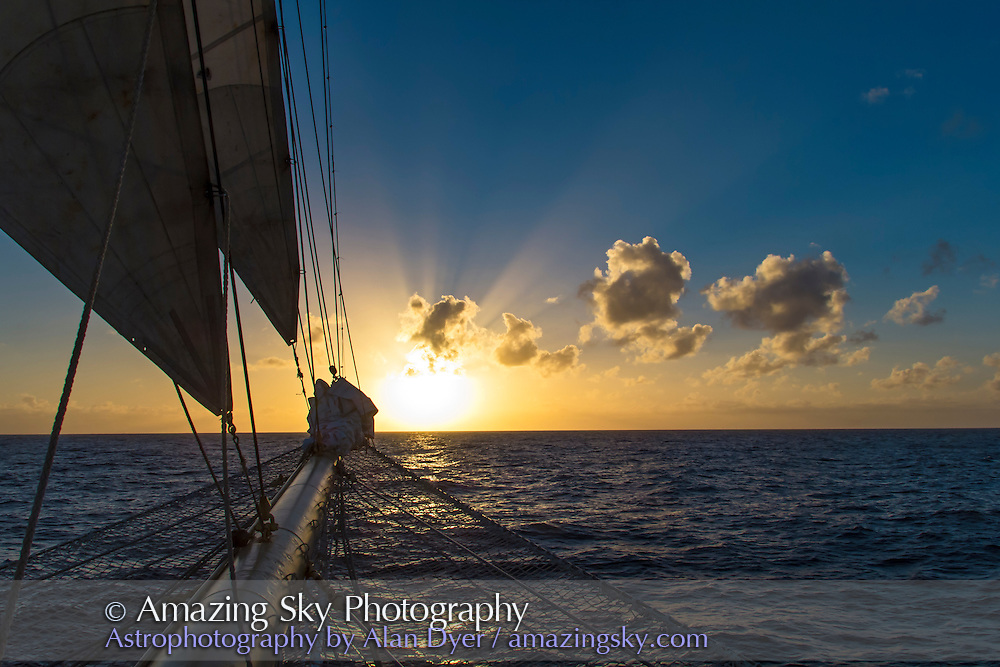 Cloud shadows and crepuscular rays near sunset over the Atlantic Ocean, from the Star Flyer sailing ship en route from Canary Islands to Barbados to see the Nov 3, 2013 total eclipse of the Sun.