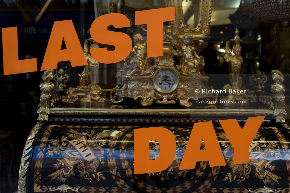 Last day of trading of a Knightsbridge shop selling period furniture in central London.