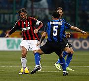 """Paolo Maldini (Milan) Dejan Stankovic (Inter).Milano 15/2/2009 Stadio """"Giuseppe Meazza"""".Campionato Italiano Serie A.Inter Milan."""