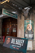 Theatre hoardings for the West End production of comedian Bill Bailey's Christmas performances, 'Larks in Transit' are ready for mounting outside Wyndham's Theatre, on 3rd December 2018, in London, UK