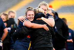Taz Bricknell of Worcester Warriors Women and Lauren Leatherland of Worcester Warriors Women celebrate victory over Bristol Bears Women - Mandatory by-line: Robbie Stephenson/JMP - 01/12/2019 - RUGBY - Sixways Stadium - Worcester, England - Worcester Warriors Women v Bristol Bears Women - Tyrrells Premier 15s