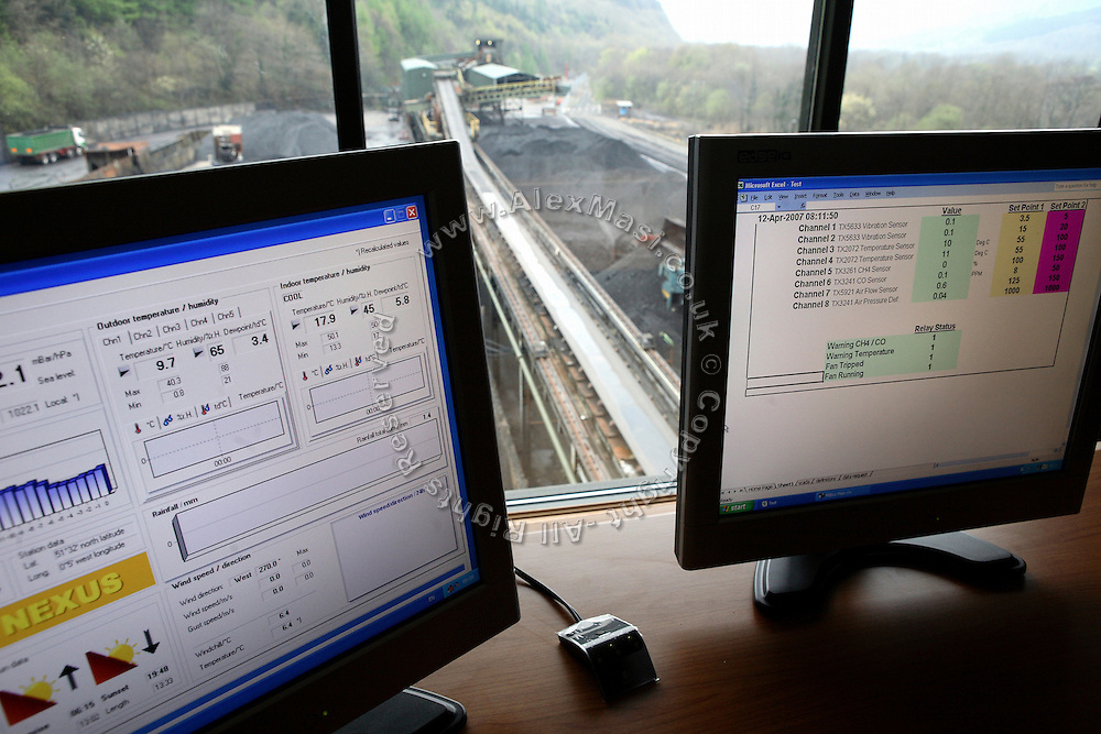 View from the Control Room at the Unity Mine complex, on Thursday, Apr. 12, 2007, in Cwmgwrach, Vale of Neath, South Wales. The time is ripe again for an unexpected revival of the coal industry in the Vale of Neath due to the increasing prize and diminishing reserves of oil and gas, the uncertainties of renewable energy sources, and the technological advancement in producing energy from coal while limiting emissions of pollutants, has created the basis for valuable investment opportunities and a possible alternative to the latest energy crisis. Unity Mine, in particular, has started a pioneering effort to revive the coal industry in the area, reopening after more than 8 years with the intent of exploiting the large resources still buried underground. Coal could be then answer to both, access to cheaper and paradoxically greener energy and a better and safer choice than nuclear energy as a major supply for the decades to come. It is estimated that coal reserves in Wales amount to over 250 million tonnes, or the equivalent of at least 50 years of energy supply, while the worldwide total coal could last for over 200 years as a viable resource compared to only a few decades of oil and natural gas.