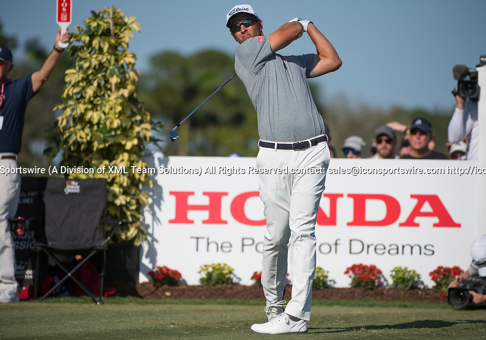 27 February 2016: Adam Scott tees off during the third round of the Honda Classic at the PGA National Resort & Spa in Palm Beach Gardens, FL.
