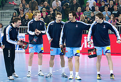 Players of Slovenia  Primoz Prost, Jure Susin, Matjaz Brumen, David Spiler and Sebastjan Skube during handball match between National teams of Slovenia and Poland of Qualifications for EURO 2012, on March 9, 2011 in Arena Stozice, Ljubljana, Slovenia. (Photo By Vid Ponikvar / Sportida.com)