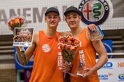08-01-2017 NED: NK Beachvolleybal Indoor, Aalsmeer<br /> Mees Blom #2, Ruben Penninga #1 pakken het zilver