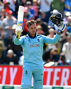 100 - Jason Roy of England celebrates scoring a century during the ICC Cricket World Cup 2019 match between England and Bangladesh the Cardiff Wales Stadium at Sophia Gardens, Cardiff, Wales on 8 June 2019.