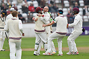Wicket - Jack Leach of Somerset celebrates taking the wicket of Paul Stirling of Middlesex who was stumped by Steve Davies of Somerset during the Specsavers County Champ Div 1 match between Somerset County Cricket Club and Middlesex County Cricket Club at the Cooper Associates County Ground, Taunton, United Kingdom on 26 September 2017. Photo by Graham Hunt.
