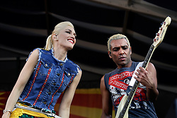 01 May 2015. New Orleans, Louisiana.<br /> The New Orleans Jazz and Heritage Festival. <br /> Gwen Stefani and Tony Ashwin Kanal with the band No Doubt on the Acura stage.<br /> Photo; Charlie Varley/varleypix.com