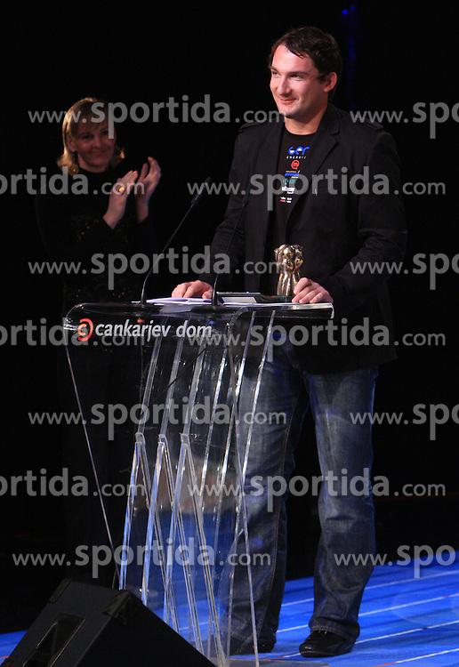 Brigita Bukovec and Primoz Kozmus, sportsman of the year 2008 at  Slovenian sportsman of the year 2008 ceremony, on December 22, 2008, in Cankarjev dom, Ljubljana, Slovenia. (Photo by Vid Ponikvar / SportIda).