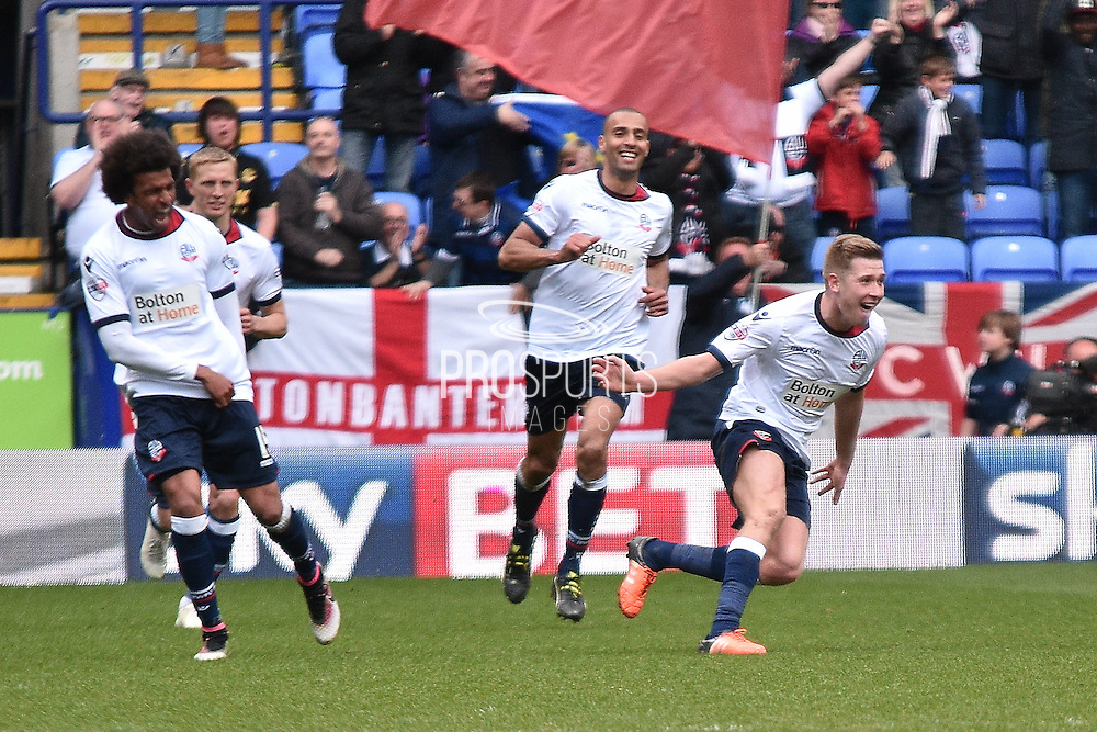 Bolton Wanderers Midfielder, Josh Vela scores during the Sky Bet Championship match between Bolton Wanderers and Middlesbrough at the Macron Stadium, Bolton, England on 16 April 2016. Photo by Mark Pollitt.