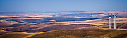 Two electric generating windmills in the Palouse region of eastern Washington, USA panorama