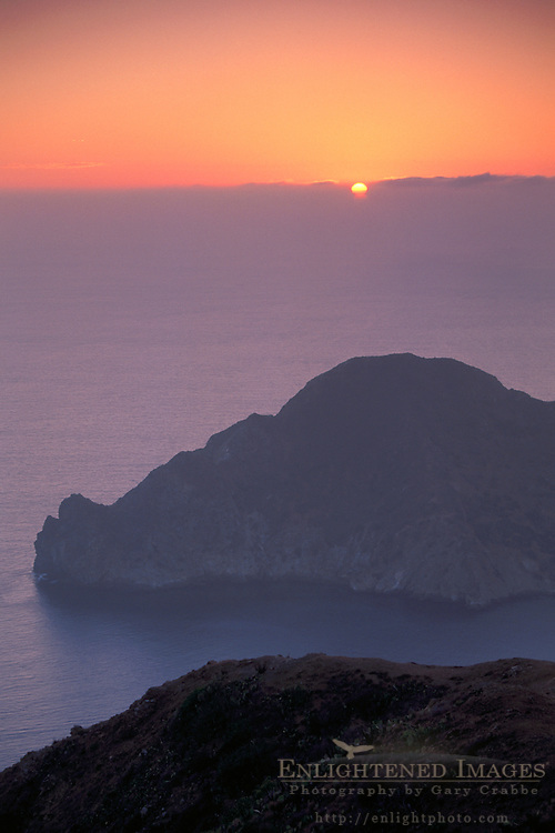 Overlooking Pacific Ocean and coastal hills above Catalina Harbor at sunset, Two Harbors, Catalina Island, California