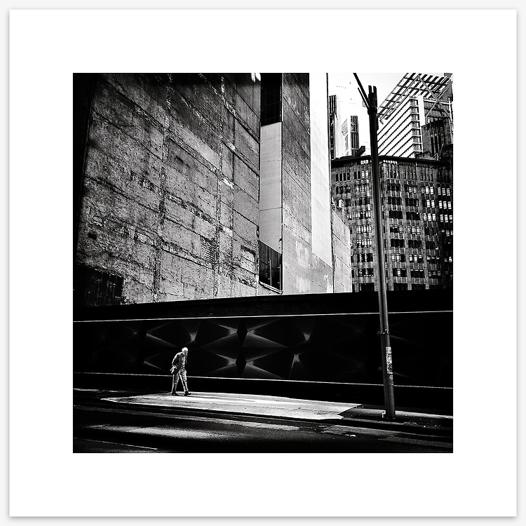 &quot;Time Traveller&quot;, O'Connell Street, Sydney. From the Ephemeral Sydney street series.<br /> <br /> As featured in my Head On Photo Festival 2018 associated exhibition &ldquo;Ephemeral Sydney&rdquo;.<br /> <br /> Available print sizes (unframed): <br /> <br /> 30 x 30 cm - Limited edition of six (6) signed &amp; numbered pigment ink prints on Hahnem&uuml;hle Photo Rag Bright White archival paper + maximum two (2) artist&rsquo;s proofs - $220<br /> <br /> 50 x 50 cm &ndash; Limited edition of six (6) as above - $450<br /> <br /> Framed prints available for delivery to Sydney metro area. POA.<br /> <br /> Price includes GST &amp; delivery within Australia.<br /> <br /> To order please email orders@girtbyseaphotography.com