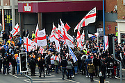 English Defence League (EDL) demonstration<br /> called in protest to the proposed building of a new mosque in Dudley.<br /> Supporters of the English Defence League gather at the assembly point of their demonstration.