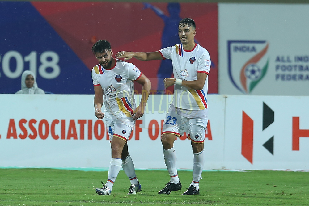 Hugo Boumous of FC Goa celebrates the goal with team players during the 3rd quarter final match of the Hero Super Cup between Jamshedpur FC and FC Goa held at the Kalinga Stadium, Bhubaneswar, India on the 12th April 2018<br /> <br /> Photo by: Deepak Malik / SPORTZPICS