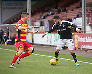 Dundee&rsquo;s Kane Hemmings runs at Partick Thistle&rsquo;s Gary Miller - Partick Thistle v Dundee, Ladbrokes Premiership at Firhill<br /> <br /> <br />  - &copy; David Young - www.davidyoungphoto.co.uk - email: davidyoungphoto@gmail.com