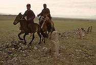 Mongolia. horse riders in frony of  a stone statue (Turkish 6th century)               / cavaliers de la steppe devant une Statue anthropomorphe. Sum de DJARGALAN, dans l'aymag de GOV ALTAY (Granit, VI-VIIIème siecle). /  / Exemple de l'art monumental des nomades d'Asie Centrale, ce type de statue monolithe, represente une  - 'idole de pierre -  (KUN TCHULUU). D'après la coutume du culte des Ancêtres, cette statue etait erigee à la surface d'une tombe d'un noble guerrier, à l'epoque des Turcs Celestes. Leur visage presente pratiquement les mêmes caracteristiques : faciès plat, pommettes saillantes, yeux en amandes et moustache. L'idole, vêtue d'une robe avec ceinture, a le bras droit plie au niveau du coude et tient une coupe. Parfois, des oiseaux de passage viennent s'y poser.  / /7    L0006223    /  P0002612