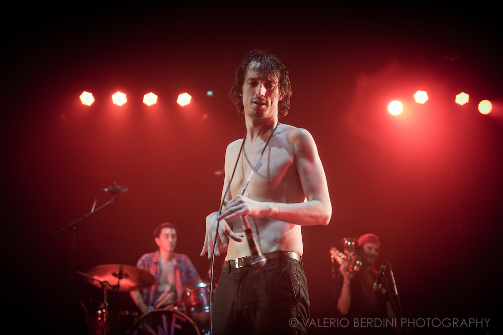 Fat White Family playing live at the Brixton Academy, their biggest show to date. 17 September 2016, London.