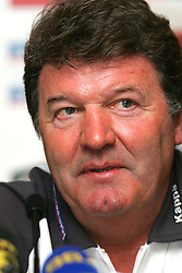 VIENNA, AUSTRIA - TUESDAY MARCH 29th 2005: Wales' manager John Toshack at a press conference ahead of his side's World Cup Qualifying Group Six match against Austria. (Pic by David Rawcliffe/Propaganda)