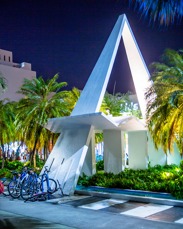 A soaring, Miami Modern (MiMo) style, decorative structure on Miami Beach's busy Lincoln Road pedestrian mall was designed by architect Morris Lapidus