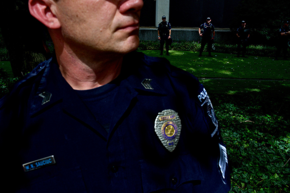 North Carolina police officers guard buildings along the protest route two days before the 2012 Democratic National Convention in Charlotte, N.C. on Sept. 2, 2012.