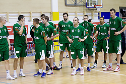 Players of Krka after the basketball match between KK Union Olimpija Ljubljana and KK Krka Novo mesto of finals of 11th Slovenian Spar Cup 2012, on February 19, 2012 in Sports hall Brezice,  Brezice, Slovenia. Union Olimpija defeated Krka 68-63 and became Slovenian Cup Champion 2012. (Photo By Vid Ponikvar / Sportida.com)
