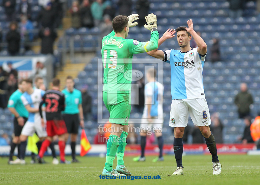 Jason Lowe and Simon Eastwood of Blackburn Rovers celebrate after Blackburn's 3-1 win against Swansea in the FA Cup match at Ewood Park, Blackburn.<br /> Picture by Michael Sedgwick/Focus Images Ltd +44 7900 363072<br /> 24/01/2015
