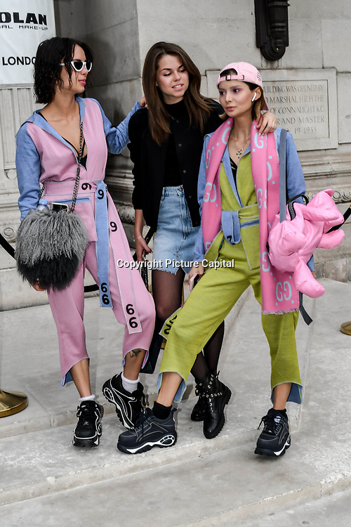 Sofiya, Diana Vi, Spiral Man - Design: 1.4.1.3 attend Fashion Scout - SS19 - London Fashion Week - Day 2, London, UK. 15 September 2018.