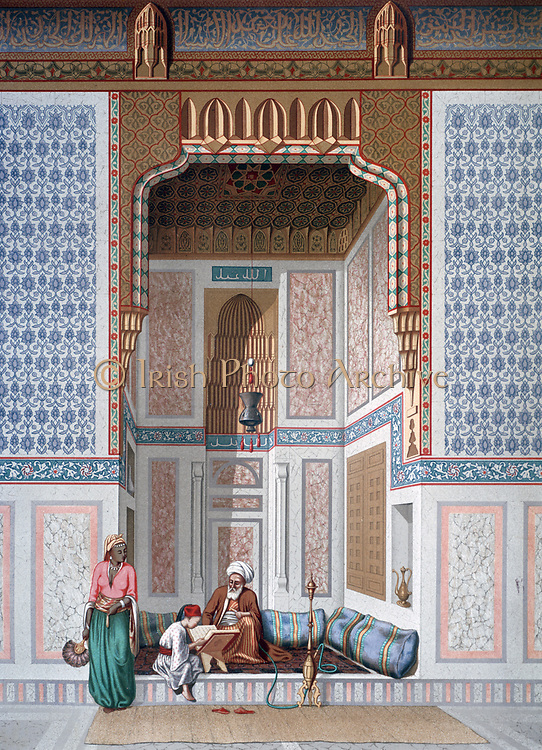 Interior of the Mosque of Khosne Ahmed el-Bordeyny. Chromolithograph after  Emile Prisse d'Avennes, (1807-1879) French architect, engineer and orientalist. Young boy reading the Koran to a teacher smoking a hookah.   Religion Islam